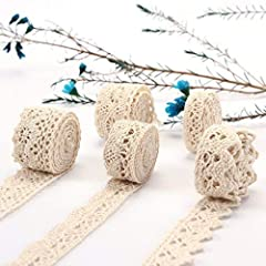 Approx 32.8Yard(30M) Cotton Lace Ribbon Trim in 5 rolls, approx 6.5 Yard (6m) per 1 roll. Material:Cotton ,Color:Beige. Each cotton lace ribbon roll comes with a pin to fix the cotton in case of scattering. Cotton ribbons come in small roll, and you ...