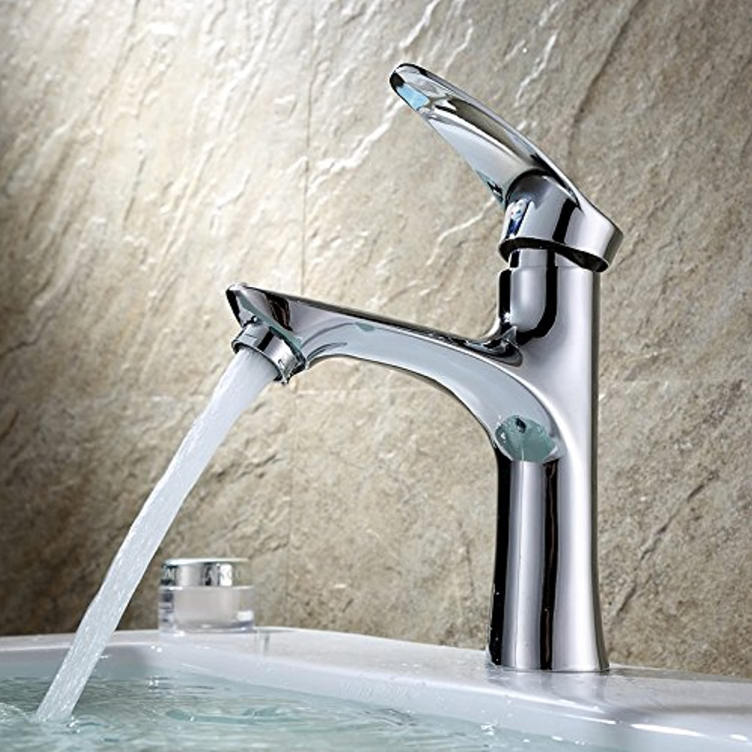 Bathroom Sink Basin Lever Mixer Tap Facebasin Cold and Hot Water Faucet Bathroom Basin Cold and Hot Water Faucet Modern Simple Bathroom Cabinet Stainless Steel