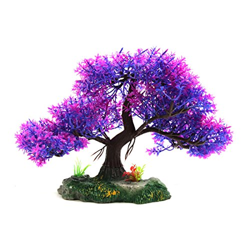 uxcell Purple Plastic Aquarium Underwater Tree Plant Decoration Ornament w Ceramic Base