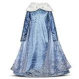 Niñas Cosplay Vestido de Princesa con Capa Manga Larga Vestido Largo Disfraz Azul Dulce Disfraz Ceremonia de Fiesta Halloween Navidad 3-10 Años (9-10 años, 140cm)