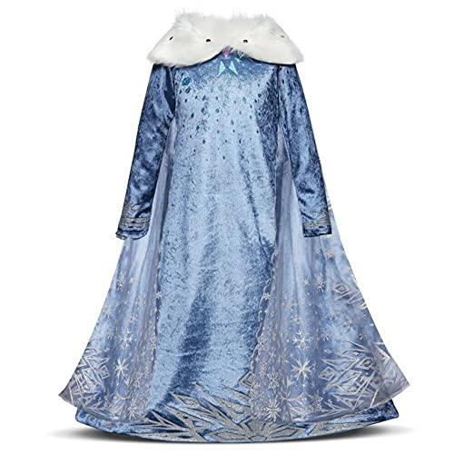 Nias Cosplay Vestido de Princesa con Capa Manga Larga Vestido Largo Disfraz Azul Dulce Disfraz Ceremonia de Fiesta Halloween Navidad 3-10 Aos (6-7 aos, 122cm)