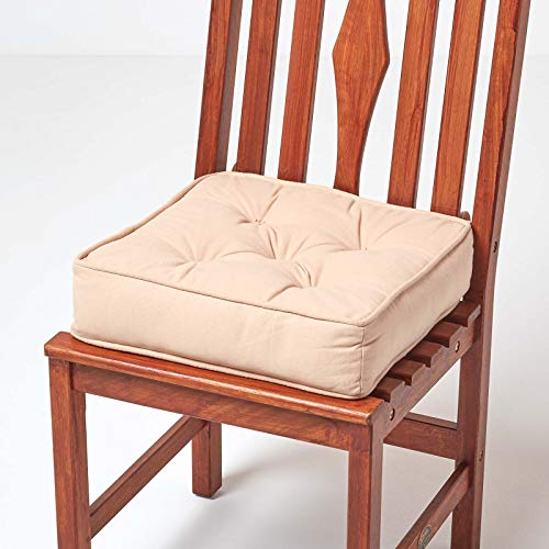HOMESCAPES Beige Dining Chair Booster Cushion Large Firm 40 cm Square Seat Pad with Supportive 10 cm Thick Lift Soft Touch Cotton Cushion For The Elderly, Post-Operative and Pregnancy