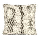 Nielsen Kissen Marlin grob gestrickt, 50x50 cm, Creme Weiß, 100% Baumwolle, Strick, Ökotex,...