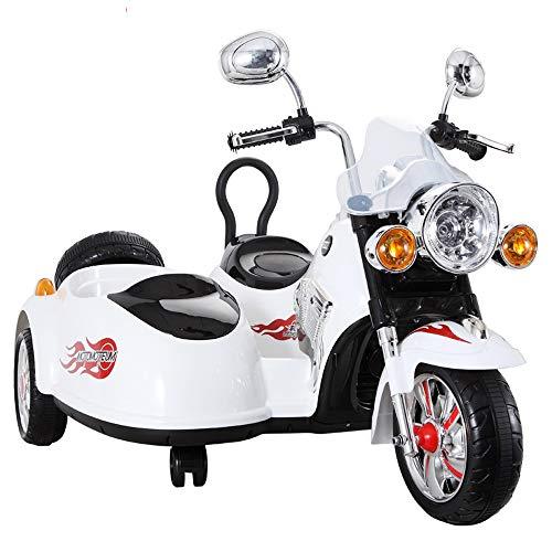 Tagke Batería Dos Asientos Niño Juguete Coche Triciclo para niños Motocicleta eléctrica Hombres y Mujeres Bebé Puede Sentarse Can Ride Carro de bebé de Dos Asientos (Color : White)