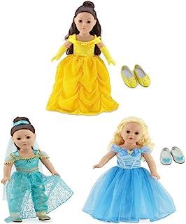 Emily Rose 18 Inch Doll Princess Dress Value Bundle | Amazing 9 Piece Set, Includes Cinderella, Belle and Jasmine - Inspir...