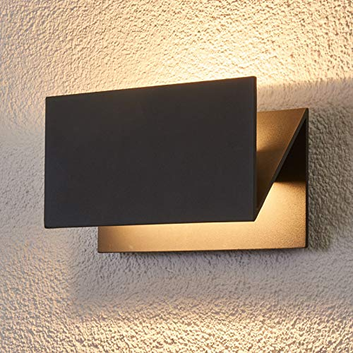 Lucande LED Wandleuchte außen 'Meja' (spritzwassergeschützt) (Modern) in Schwarz aus Aluminium (A+, inkl. Leuchtmittel) - LED-Außenwandleuchten Wandlampe, Led Außenlampe, Outdoor Wandlampe für