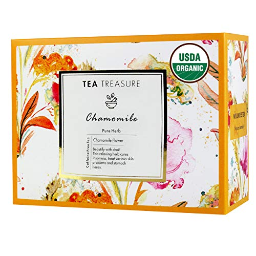 TeaTreasure USDA Certified Organic Pure Chamomile Tea - Calming & Soothing Sleep Tea for Stress and Anxiety - 2 Teabox ( 36 Pyramid Tea Bags )