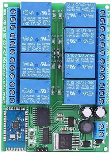 Relé de Control Remoto Módulo de relé Bluetooth de 8 Canales DC 12V Tablero de Interruptor de Control de Voltaje de Funcionamiento para teléfono AndroidEvolutions
