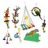 JZK Set 8 x Legno giocattoli per uccelli uccellini in gabbia, giocattoli da appendere a battente, triturazione, posatoi da masticare, giocattoli per pappagalli cacatua parrocchetti uccellini canarini