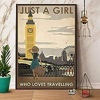 2個 Pozino Traveling Girl かわいいメタルサイン ガレージ ストリート カフェ バー クラブ キッチン ウォール デコレーション カントリー ファーム バスルーム レトロ 楽しい メタル スズ サイン 12x8インチ 最高のギフト