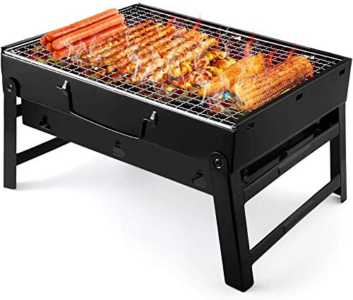 UTTORA Charcoal Grill Barbecue Portable BBQ - Stainless Steel Folding Grill Tabletop Outdoor Smoker BBQ for Picnic Garden Terrace Camping Travel 15.35