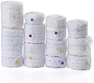FEPITO 39.6 Yards White Lace Ribbon 12 Rolls Assorted Lace Trim Ribbon for Sewing and Bridal Wedding Scalloped Decorations