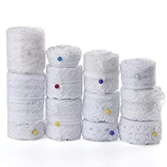 Made of polyester material, white color 12 rolls assorted lace ribbon, approx 3.3 yards (3 meters) each roll Width: about 2cm-3.5cm, 12 different patterns vintage designs Easy to use, can be cut freely according to your various need Suitable for DIY ...