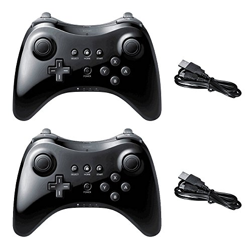Wireless Controller for Nintendo Wii U Pro Console Dual Analog by Poulep ( Black and Black )
