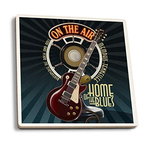 Lantern Press Memphis, Tennessee - Guitarra y micrófono (azul)