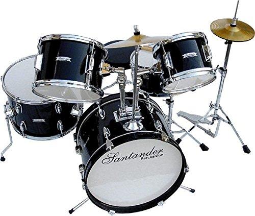 Santander Schlagzeug großes Kinderschlagzeug Komplett Set, 8 teilig, schwarz