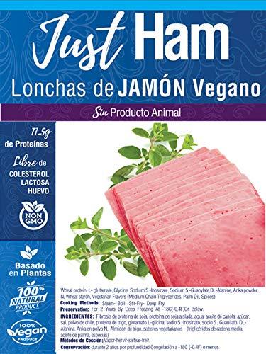 JUST VEGAN - LONCHAS DE JAMON VEGANO 300g   100% VEGETALES   Sin carne   Plant Based   Sin Gluten