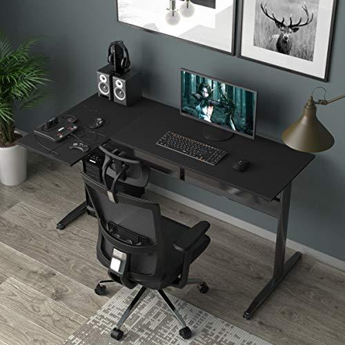 SogesHome 140 cm * 80 cm Escritorio de computadora en Forma de L Escritorio de Esquina Grande Mesa Multifuncional en la Oficina en casa, Sala de Estar, Estudio, SH-XTD-SC02-BK