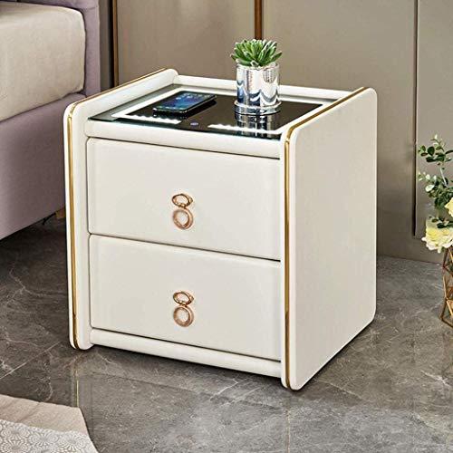 HTL Mesas de noche de gabinetes de archivos útiles Mesa de noche duradera, mesa de habitación de dormitorio, mesa de café de cristal templado de mesa,E