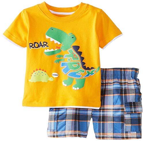Jimmackey- Bambino Ragazzi Camicia Dinosauro Stampa Cime Estate Manica Corta T-Shirt + Griglia Pantaloncini Abiti Set