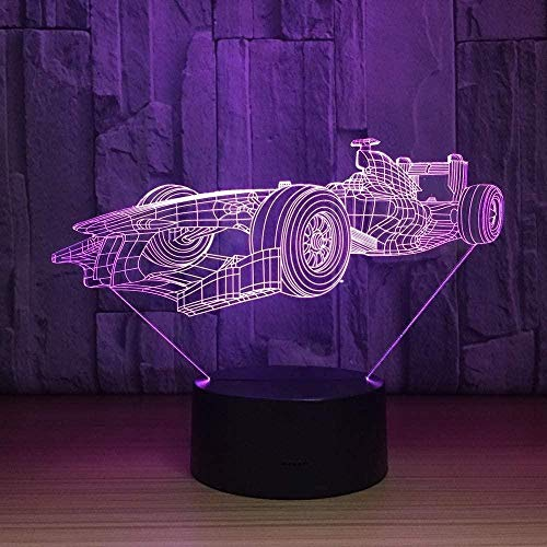 Night Light 3D Sleep lamp 7 Colors Change LED Night Light 3D F1 Racing car Modeling Modern Bedroom Atmosphere Desk lamp USB Decor Children s Gifts