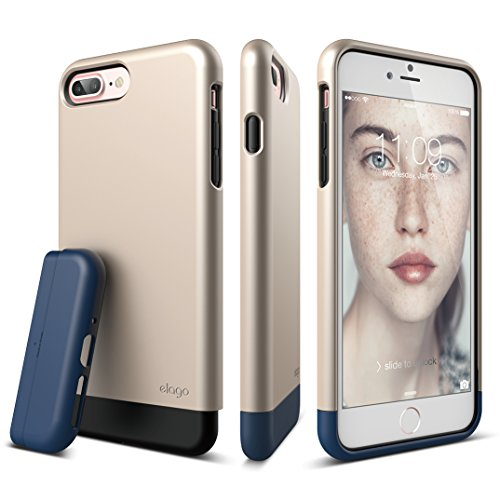 elago iPhone 7 Plus case [Glide][Champagne Gold/Jean Indigo] - [Multi-Option Case][Military Drop Test Certified][Sophisticated Shock Absorption] - for iPhone 7 Plus