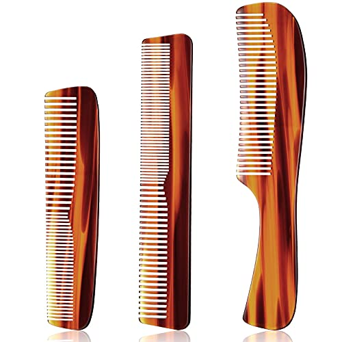 3 Pieces Men's Combs Hair Pocket Combs Handmade Fine Tooth Comb Hair Detangling Comb Double Toothed Fine Comb for Curly Hair,Long Hair,Beard and Mustache