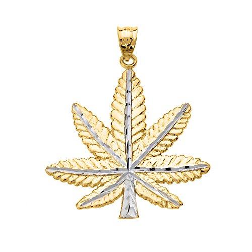 Collar Colgante 14K Amarillo Oro Hoja de Marihuana Cannabis Encanto (Viene con una cadena de 45 cm)