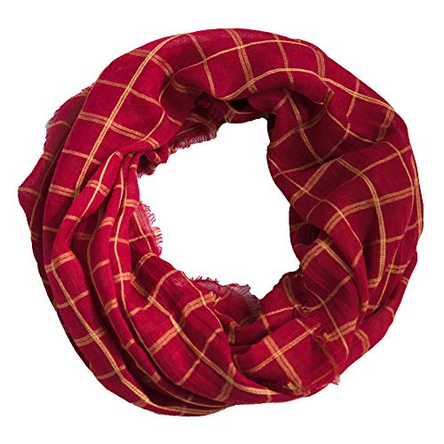 Tickled Pink Women's Game Day Sports Team Apparel Scarf or Wrap, Check Plaid Infinity/16x63, 16 x 63