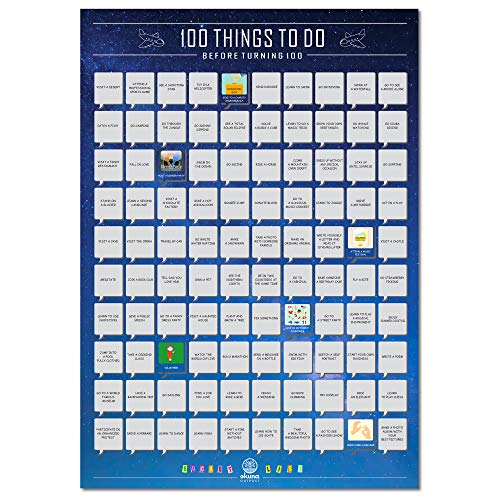 Scratch off Poster, 100 Things To Do Before Turning 100 Bucket List (16.5 x 23.5 In)