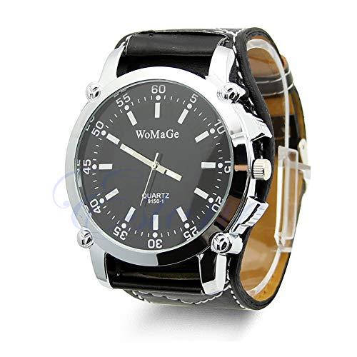 Reloj de lujo de moda para hombre de cuarzo con esfera de acero y correa de cuero analógico