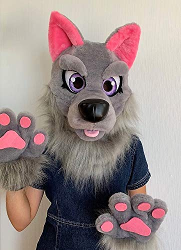 Girls wolf fursuit head I Wolf furry costume for kids I Kids fursuit I Wolf fursona
