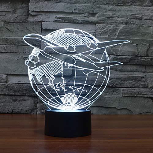 Fliegen aus Asien FLUGZEUG ERDE LED Nachtlicht 3D LED USB Tischlampe Kinder Geburtstagsgeschenk Nachtzimmer Dekoration