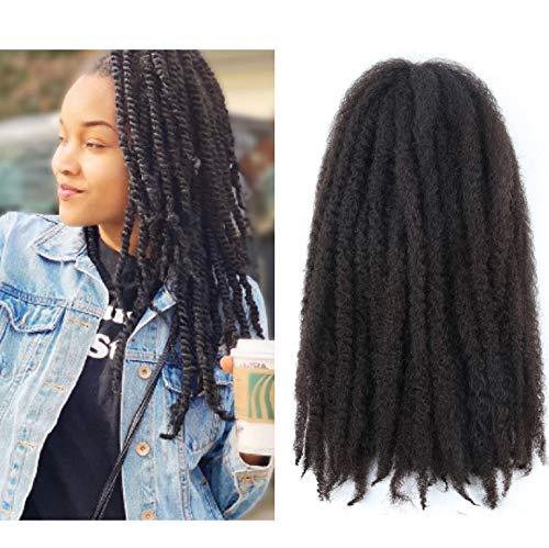 Marley Hair 4 Packs Afro Kinky Curly Crochet Hair 18 Inch Long Marley Twist Braiding Hair Kanekalon Synthetic Marley Braids Hair Extensions for Women(#4)