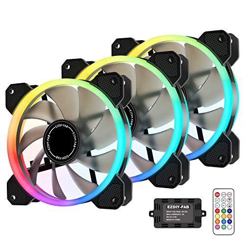 EZDIY-FAB Ventilador inalámbrico RGB LED de 120 mm, edición silenciosa Ventilador de Caja LED de Color Ajustable para Cajas de PC,enfriadores de CPU y radiadores-3 Pack