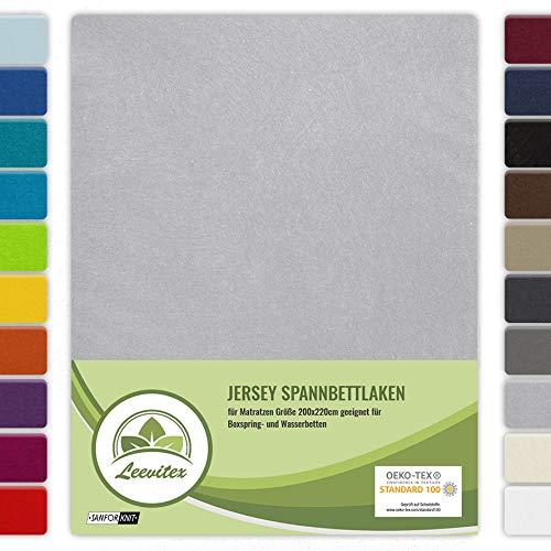 leevitex® Farbenfrohes Spannbettlaken für WASSERBETTEN & BOXSPRINGBETT Spannbetttuch Jersey 200 x 220cm, 40cm Steghöhe 100% Baumwolle ca. 160 g/m² (Silber/Hellgrau)