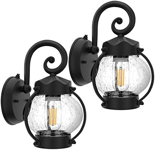2 Pack Dusk to Dawn Sensor Outdoor Wall Sconce Seeded Glass Exterior Wall Lantern Light Fixture product image