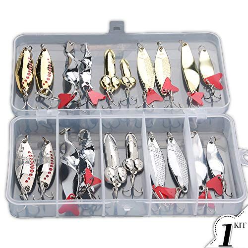 Donql Fishing Lures Metal Spoons Hard Baits 20pcs Set Metal Fishing Lures Spinner Baits Fish Treble Hooks Tackle Salmon Bass (Set A)