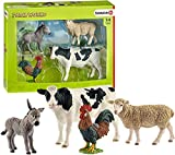 Schleich - Farm World, Set de Iniciación, Incluye Burro, Vaca, Gallo y Oveja