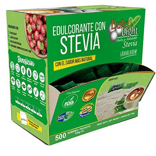EDULCORANTE STEVIA DULCILIGHT 500 Sobres, Natural granulado con DISPENSADOR Y fibra Vegetal|1gr = 10gr de azúcar| EL Sabor, la textura y el Sonajero del azúcar LIBRE de calorías