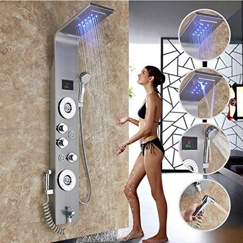 Rozin Edelstahl LED Duschpaneel 6 Funktionen Duschsäulen Regendusche Duschset mit Wassertemperaturanzeige und 4 Massagedüsenduschpanel Bidet-spray Gebürstetes Nickel