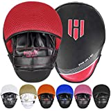 Punching Mitts Kickboxing Muay Thai MMA Boxing Mitts Training Focus Punch Mitts Bags Hand Target Pads for Kids, Men & Women (Pair) (Red)