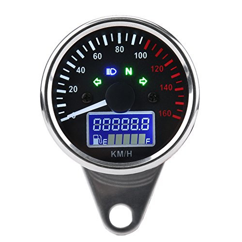 KIMISS universal 0~160KM/H Tacómetro del velocímetro de la motocicleta universal, Velocímetro LED Digital Speed Speed Velocímetro (Cromo retro)