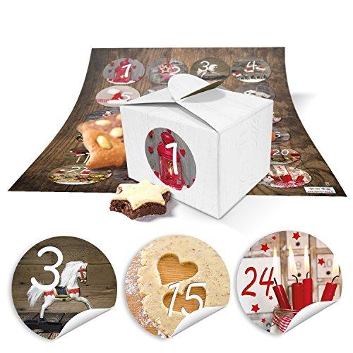 24 kleine doosjes miniboxen 8 x 6,5 x 5,5 om zelf adventskalender te knutselen en te vullen + ronde cijfers stickers FOTOMOTIVE vintage van 1 tot 24 als cadeau-idee voor Kerstmis