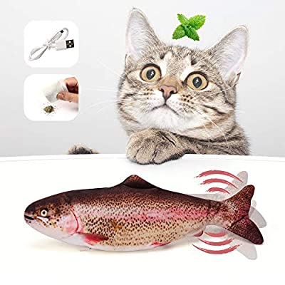 Cat Fish Toy Moving Fish Toy For Cats, Interactive Catnip Fish Toys For Indoor Cats, 28Cm Electric Cat Kicker Fish Toy, Floppy Chew Fish Toy For Cats, Usb, Washable, For Biting, Chewing And Kicking