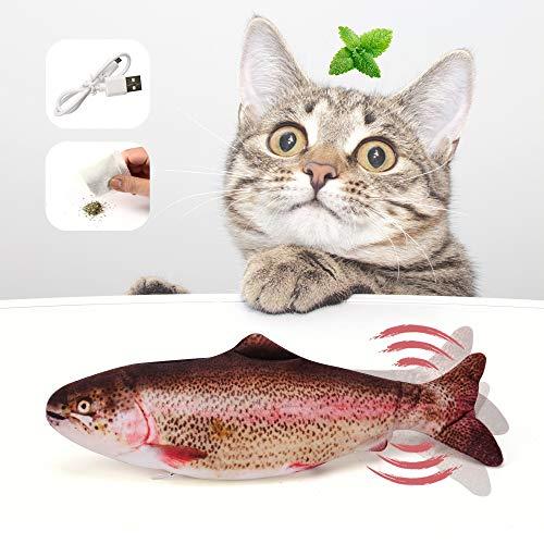 Katzenspielzeug Fisch, Elektrische Spielzeug Fisch Katzenspielzeug Mit Katzenminze, Interaktives Fisch Spielzeug Für Katzen, USB Aufladung, Waschbar, Für Katze Zum Spielen, Beißen, Kauen Und Treten
