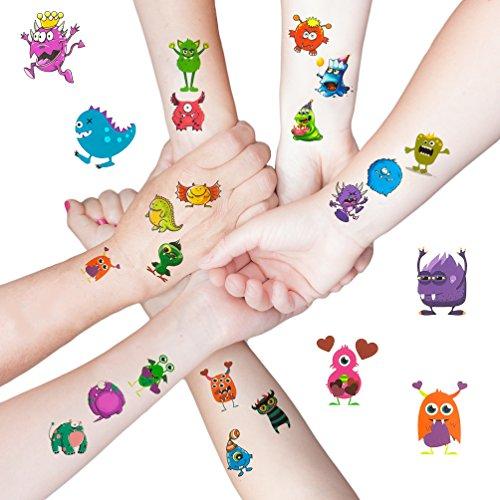 Oblique-Unique® 48 lustige Bunte Monster Tattoo Sticker I Kinder Geburtstag Party I Temporäre Tattoos