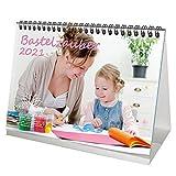 Bastel - Tischkalender für 2021 DIN A5 Bastelzauber weiß - Geschenkset Inhalt: 1x Kalender, 1x Weihnachts- und 1x Grußkarte (insgesamt 3 Teile)
