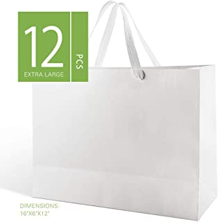MALICPLUS 12 Extra Large Gift Bags 16x6x12 Inches, Luxury Large Gift Bags with Handles (Cotton) for All Occasions (Matte White Embossing)