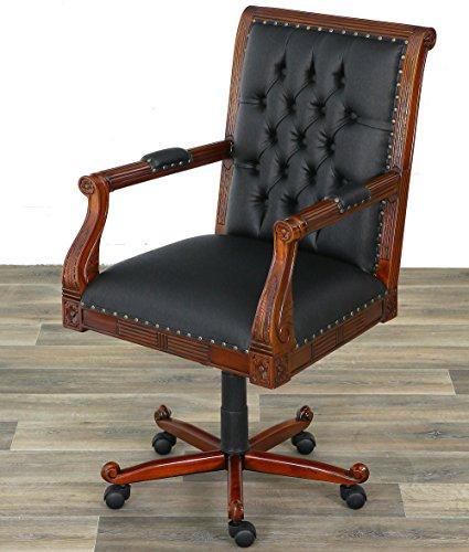 Moreko Chesterfield Drehstuhl Antik-Stil Bürostuhl Massiv-Holz Mahagoni höhenverstellbarer Schreibtisch-Stuhl schwarz